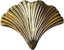 YWF Handles 4 Ginkgo Leaf Brass Handles, Wardrobe