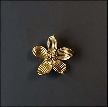 YWF Handles 5 Brass Floating Flower Handles,
