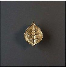 YWF Handles 5 Brass Leaf Handles, Wardrobe Cabinet