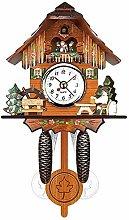 YWTT Antique Wooden Wall Clock Bird Time Bell