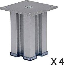YWTT Furniture Legs x4, Square Reinforced Aluminum