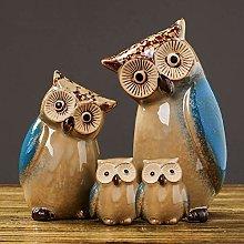 YWYW Owl Figurines Home Decor Set Owl Family