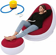 YX Inflatable Chair with Ottoman, Blow Up Chaise,