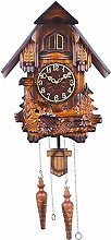 yxx Bird Cuckoo Alarm Clock, Wooden Hand-carved