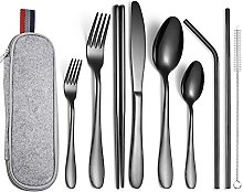 yxx Camping Utensils Kit Travel Cutlery Set With