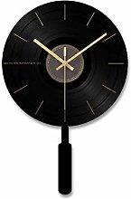 YXZQ Black Swinging Wall Clock Acrylic Pendulum