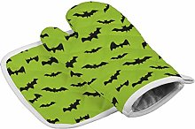 YY-one Bats on Lime Green Oven Mitts,Professional