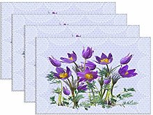 YY-one Canvas placemat Pasque Flower, Table Place
