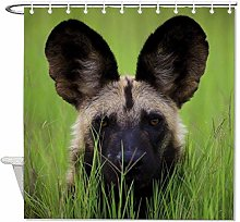 YY-one Fabric Shower Curtain with Hooks- African