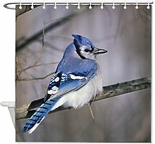 YY-one Fabric Shower Curtain with Hooks- Blue Jay