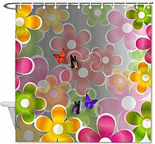 YY-one Fabric Shower Curtain with Hooks- Colorful
