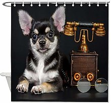 YY-one Fabric Shower Curtain With Hooks, Cool Dog