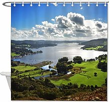 YY-one Fabric Shower Curtain with Hooks- Cumbria,