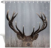YY-one Fabric Shower Curtain with Hooks- Deer