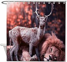 YY-one Fabric Shower Curtain with Hooks- Deer with