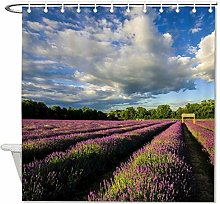 YY-one Fabric Shower Curtain with Hooks- Lavender