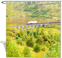 YY-one Fabric Shower Curtain with Hooks- Railway,