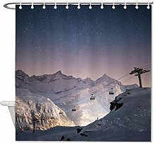 YY-one Fabric Shower Curtain With Hooks, Starry
