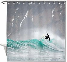 YY-one Fabric Shower Curtain with Hooks- Surfing