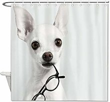 YY-one Fabric Shower Curtain with Hooks- White