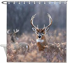 YY-one Fabric Shower Curtain with Hooks- Wild Deer