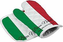 YY-one Italian Flag Oven Mitts,Professional Heat