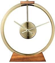 YYAI-HHJU Fireplace Clock With Solid Wood Base