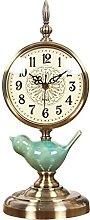 YYAI-HHJU Metal Base Fireplace Clock Ceramic