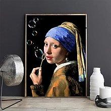 YYAYA.DS Wall Art Prints Famous Pearl Girl Blowing