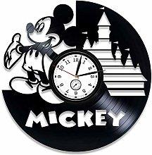 YYIFAN 30cm Mickey Mouse Disney Vinyl Wall Clock,