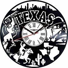 YYIFAN 3D Vinyl Record Wall Clock Texas Poster -