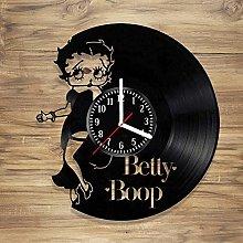 YYIFAN Betty Boop Vinyl Wall Clock Cartoon