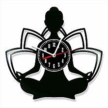 YYIFAN Yoga Wall Clock Vinyl Record Clock Family