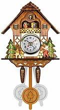 Yyooo Antique Wood Cuckoo Wall Clock - Bird Design