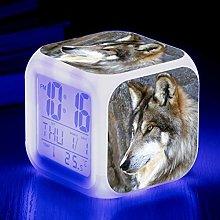 Yyoutop Wolf print cartoon led clock digital clock