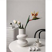 Yyqx vase White Ceramic Vase, Circle Flower Vase