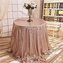 "YZEO 100"" Rose Gold Sequin Tablecloth Round"