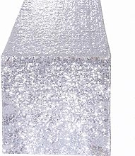YZEO 12x108 inches Silver Sequin Table Runner for