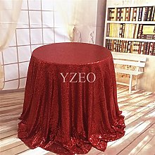 YZEO 132-Inch Round Sequin Tablecloth£¬Red