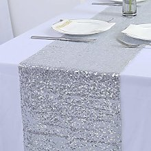 YZEO 13x108-Inch Silver Sequin Table Runner Silver