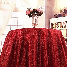 YZEO 50 Inch Round Red Sequin Tablecloth For