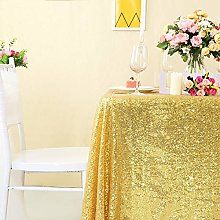 YZEO 50x50 Inch Gold Sparkly Sequin Tablecloth