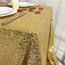 YZEO 50x85 Inch Gold Sequin Tablecloth, Wedding