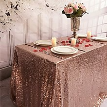 YZEO 50x85 Inch Rose Gold Sequin Tablecloth,