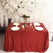 YZEO 54x54-Inch Square-Sequin Tablecloth-Red