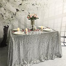 YZEO 54x54inch Square Silver Sequin Tablecloth