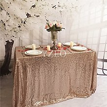 YZEO 60inx102in Rose Gold Sequin Fabric Tablecloth