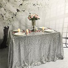 YZEO 60x120inch Silver Sequin Tablecloth for