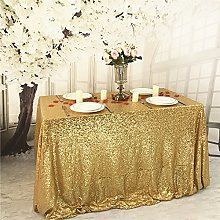 YZEO 60x126 Inch Gold Sequin Tablecloth, Wedding