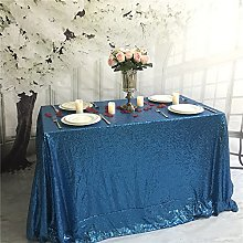 YZEO 60x126 Inch Turquoise Sequin Tablecloth,